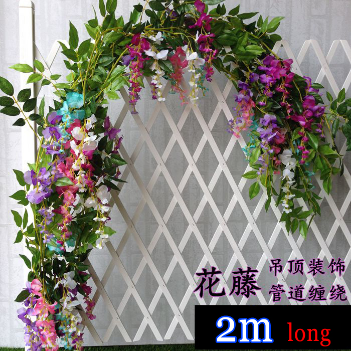 2m longer artificial wisteria flowers wedding arch decorative 2m longer artificial wisteria flowers wedding arch decorative flowers home flower vine fake rattan marrige party supplies 5pcs in artificial dried flowers junglespirit Image collections