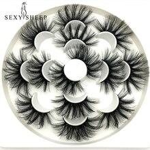 SEXYSHEEP 7/8 זוגות 25mm 3D פו מינק ריסים טבעי ארוכים נפח מזויפים איפור הארכת ריסים maquiagem