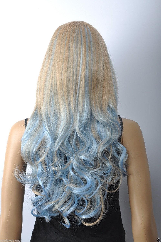 100% Фирменная Новинка Высокое качество модные изображения волос Искусственные парики> Новый Для женщин Косплэй небесно-синий блондинка сме...