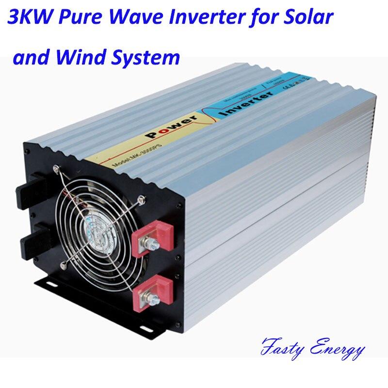 Onduleur à onde sinusoïdale Pure 3000 w pour système solaire utilisation du système de générateur de vent, hors réseau monophasé 24 v 48 v 96 v 110 v avec chargeur