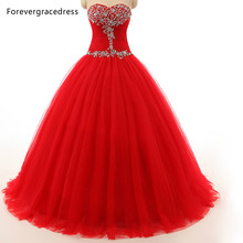 Forevergracedress Red Color Sleeveless Wedding Dress Tulle Sweetheart Beaded Long With Lace Up Back Bridal Gown Plus Size