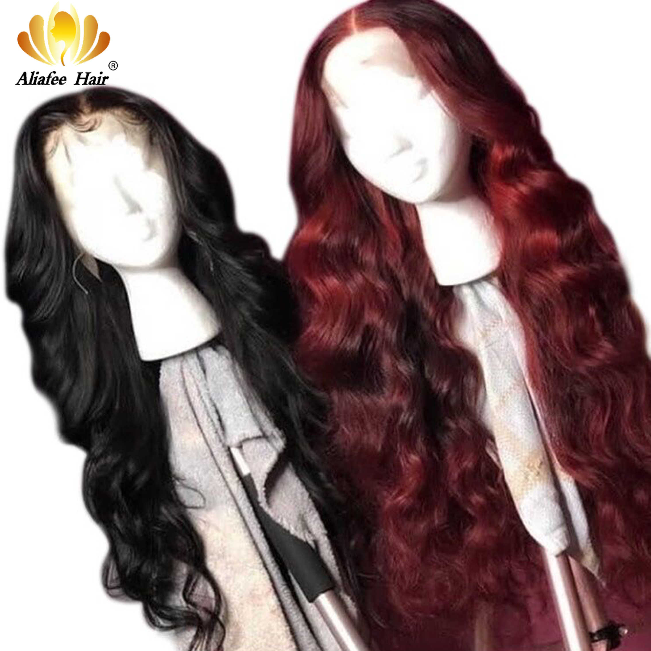 AliAfee 13x4 Lace Front Human Hair Wigs Brazilian Body Wave Wig Pre Plucked Remy Human Hair Wigs With Baby Hair Natural Hairline