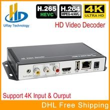 H.265 H.264 Ultra HD 4 K IP Streaming De Vídeo Decodificador de Áudio Decodificador IP Para HDMI + AV CVBS Apoio 4 K Saída De Decodificação codificador