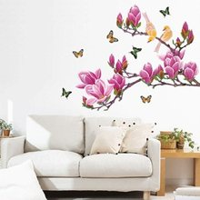 Pink Magnolia Butterfly Wall Stickers For Bedroom Home Decoration Background Plane Pastrol Mural Door Diy Wallposters Promotion(China)