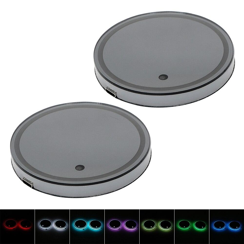 2 piezas beber Pad 5 colores de carga USB atmósfera copa del sostenedor del coche almohadilla luz conmutable auto luz RGB