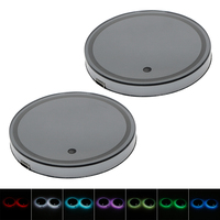 2PCS Pad 5 Colors USB Charge Atmosphere Car Cup Holder Bottom Pad Light Switchable Car RGB