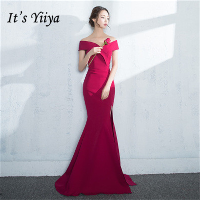 It's YiiYa Fashion Wine Red Boat Neck Off The Shoulder Evening Dresses Slim Furcal Backless Trumpet Formal Dress MX063