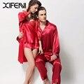 XIFENNI Nueva Amante Pareja Pijama de Satén De Seda Pijama de Encaje Bordado Conjunto de Emulación de Seda ropa de Dormir Para Hombres de Las Mujeres 3215 3315