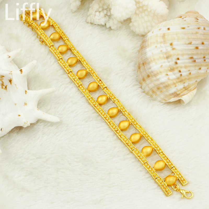 Liffly Vàng Bộ Trang Sức Dành Cho Nữ Trang Sức Thổ Nhĩ Kỳ Cưới Cô Dâu Cổ Earings Trang Sức Thời Trang Quà Tặng Sinh Nhật