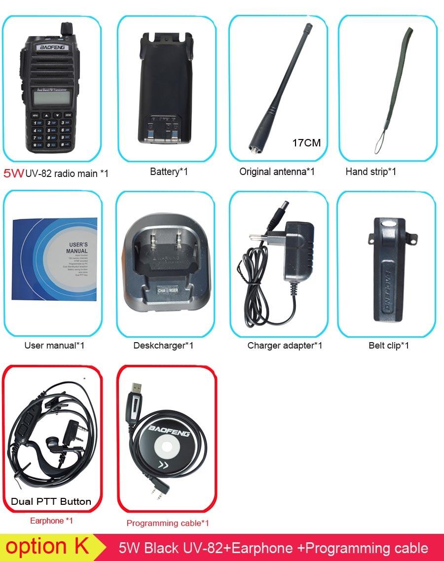 Популярная портативная рация, Baofeng, UV-82, две кнопки PTT, двухстороннее радио Vhf Uhf, двухдиапазонное Baofeng UV 82 UV82, двухстороннее радио - Цвет: 5W with pro cable