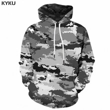 KYKU Camouflage Hoodie Men Streetwear Gray Camo 3d Hoodies Anime Print Sweatshirt Hooded Military Vintage Mens Clothing Pullover