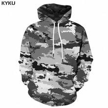 Мужской Камуфляжный худи KYKU, серый винтажный свитшот с капюшоном и 3D принтом в стиле милитари, одежда для улицы