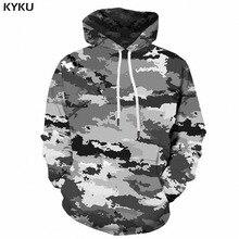 Kyku camuflagem hoodie homem streetwear cinza camo 3d hoodies anime impressão moletom com capuz militar do vintage roupas dos homens pulôver