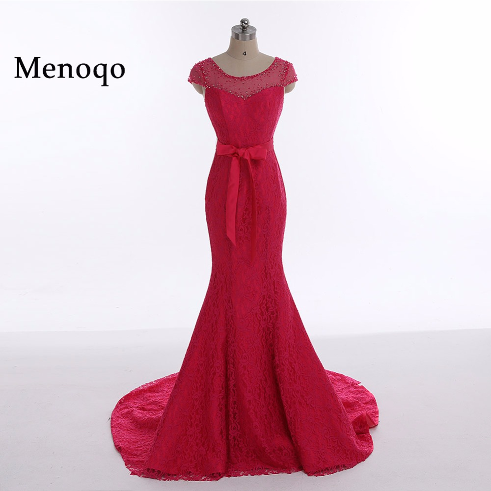 Menoqo Women's Cap sleeve Beaded Lace Mermaid Long   Prom     Dresses   Evening Party   Dress   Robe De Soiree Longue