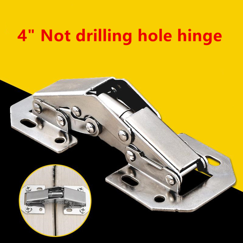 4 inch 90 Degree Not Drilling Hole Cabinet Hinge Bridge Shaped Spring Frog Furniture Hinges Full Overlay Cupboard Door Hinges 2pcs 90 degree concealed hinges cabinet cupboard furniture hinges bridge shaped door hinge with screws diy hardware tools mayitr
