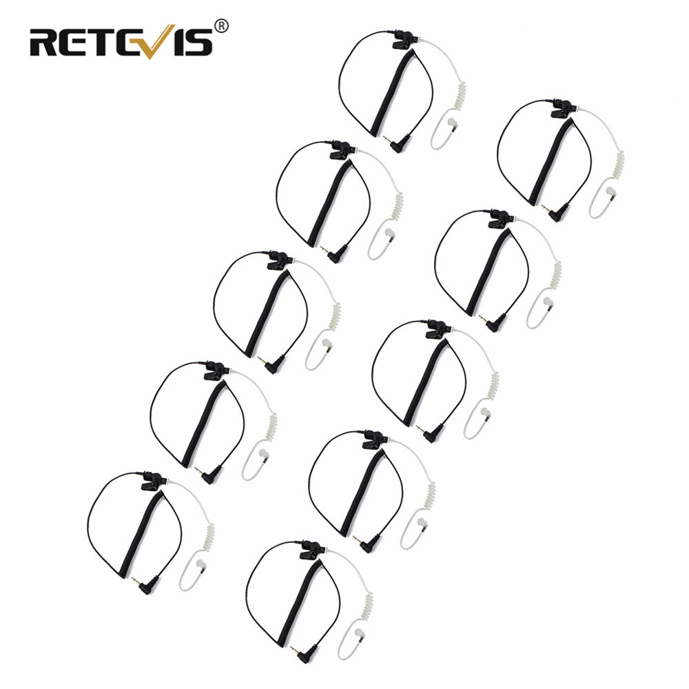 10pcs Retevis 3.5mm Audio Plug With Acoustic Tube Earpiece Listen/Receiver Only Headset For Motorola Walkie Talkies/Speaker Mic