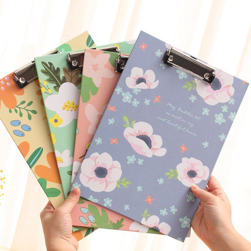 Coloffice 1PC A4 Floral File Folder Clipboard Cardbard Folder WordPad Vertical Writting Board School Stationery Office Supplies candy color clipboards a4 notes folder write sub plate wordpad stationery clip file paper file folder holder school supplies