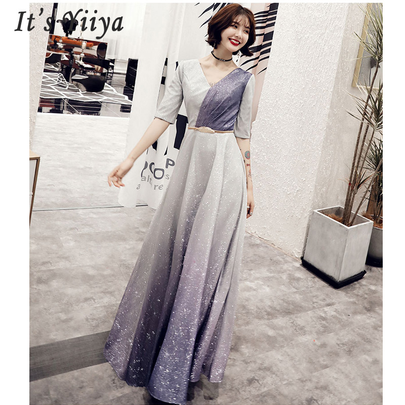 It's Yiiyya Evening Dress Elegant Slim Women Party Dress 2019 V-neck Robe De Soiree Long Plus Size Half-sleeve Prom Dresses E549