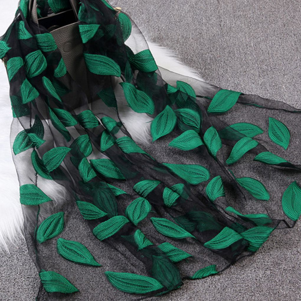 Spring Summer Women Girls Leaves Jacquard Organza   Scarf   Shawls Breathable Sunshade Beach   Scarves     Wraps   for Ladies 65x170cm