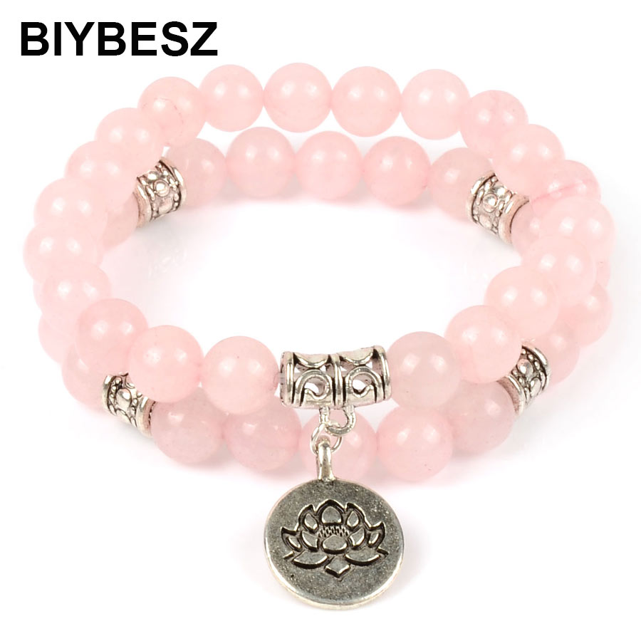 Женский браслет-распорка Lotus Spacer, красивый браслет из розового кварца с кристаллами, подарок ручной работы, 2019