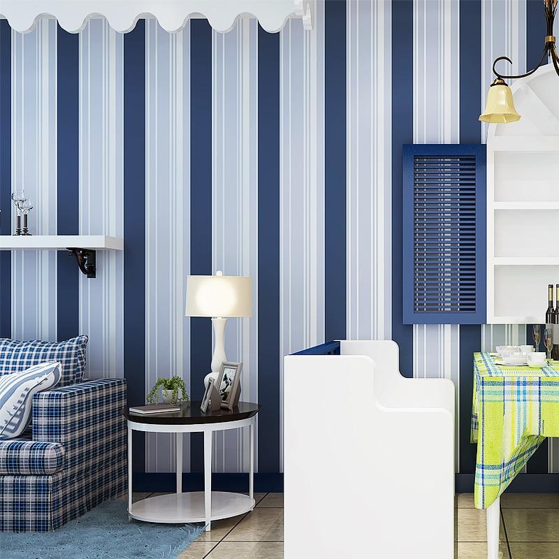 Beibehang papier peint simple bleu et blanc rayures verticales fond papier peint le salon chambre chambre d'enfant