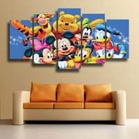 261ce346ce Printed Winnie The Pooh Piglet Tigger Donald Duck Mickey Mouse Cartoon  Animal Painting 5 Panels For