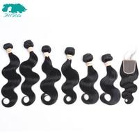 6 Bundles With Lace Closure 4*4 Body Wave Brazilian Hair Weave Bundles Human Hair With Closure Free Part Non Remy Hair Allrun
