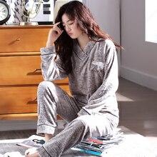 2018 pajamas female winter Cartoon thick women pajamas sets flannel warm pyjamas women plus size homewear Cartoon Sleep Lounge L