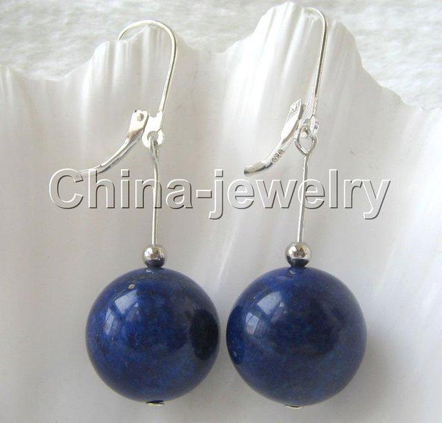 Aaa natural 14 mm redondo perfecto lapislázuli pendiente de plata-925