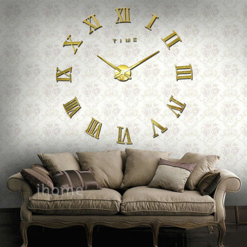 creative designs mirror wall clock large. Living Room wall clock DIY large quartz Acrylic mirror 3D Roman numerals  design Fashion Art Home Decor stickers Watche in Wall Clocks from