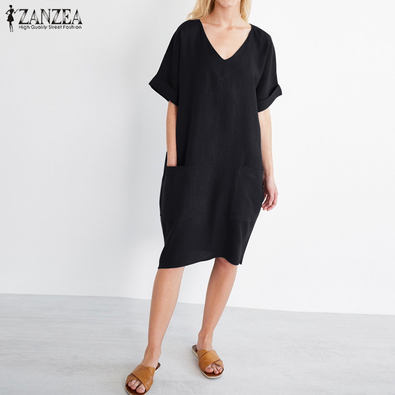 2018 ZANZEA Summer Women V Neck Short Sleeve Pockets Loose Solid Shirt Vestido Casual Elegant Cotton Linen Work Dress Plus Size 4