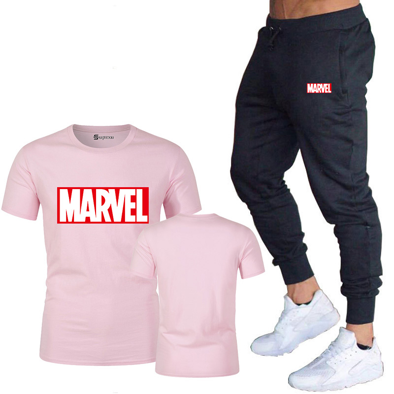 HTB1hTIvJY2pK1RjSZFsq6yNlXXaw New summer hot brand sale men's MARVEL suit T shirt + pants two piece casual sportswear printing shirts gym fitness pants 2019
