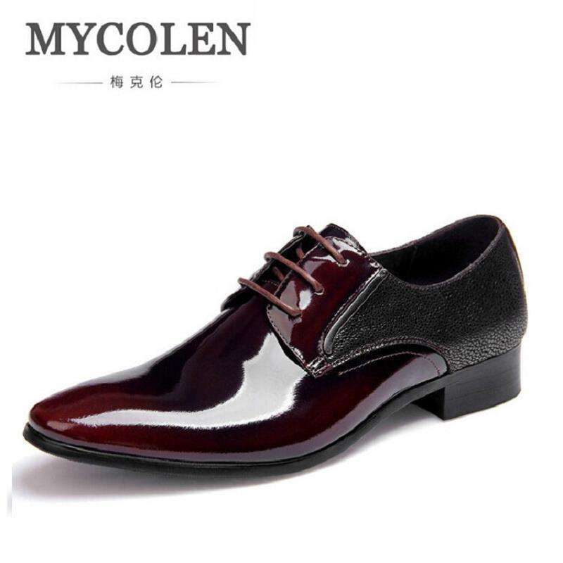 MYCOLEN Oxford Shoes For Men Office Shoes Patent Leather Business Dress Shoes Men Flats Zapatos Hombre Black Derby Shoes npezkgc men dress shoes slip on black oxford shoes for men flats leather fashion men shoes breathable comfortable zapatos hombre