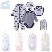 New Arrival Luvena Fortuna Baby Cotton Bodysuit Bib Mitten 5 Pieces Multi Set Newborn Clothing Set