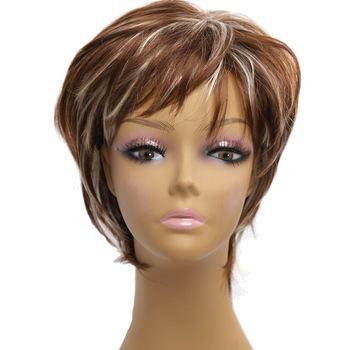 Amir ombre peruki krótkie blond peruki syntetyczne kobiece krótkie fryzury peruki dla Afirca American women peruki Perruque tanie i dobre opinie 1 sztuka tylko Proste Wysokiej Temperatury Włókna Elastyczne koronki Ciemny brąz Średnia wielkość AMIR HAIR