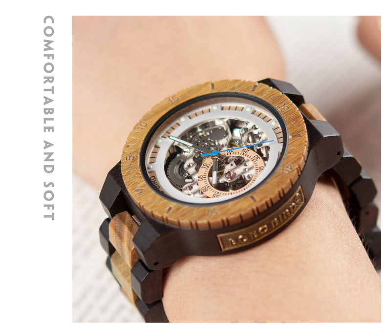 Reloj mecánico de madera caja de diseño Retro 8