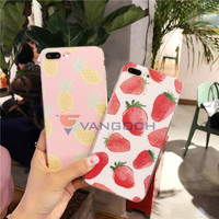 Hot Sale Fruit Series Pineapple Strawberry Simple Case For Apple IPhone 7 Case For IPhone7 6