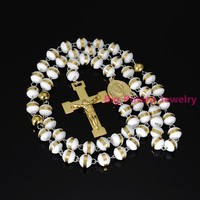 Popular White Gold Ball Necklace With Gold Big Jesus Cross Pendant 316L Stainless Steel Cool Mens