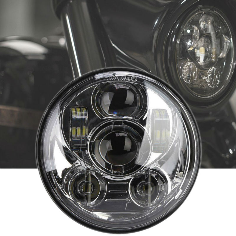 5.75inch Round Led Projection Daymaker Headlight Motorcycle H4 Hi Lo Beam 5 3/4 inch Headlamp for Harley Softail Dyna Sportster цена