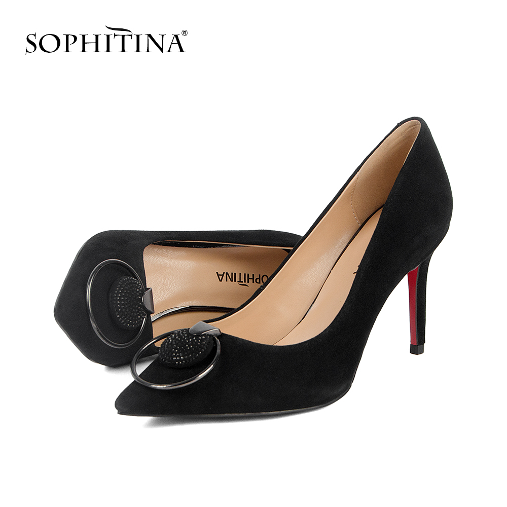 SOPHITINA 2019 Spring New High quality Kid Suede Basic Pumps for Female Fashion Metal and Rhinestone