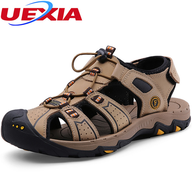 UEXIA Men Sandals Peep Toe Split Leather Men Beach Sandals Brand Men Casual Shoes Flip Flops Men Slippers Sneakers Summer Shoes