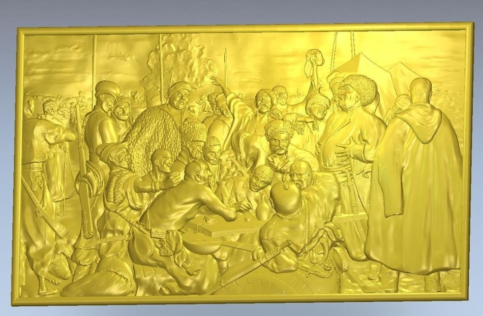3d Model Relief  For Cnc In STL File Format Panno_Cossacks