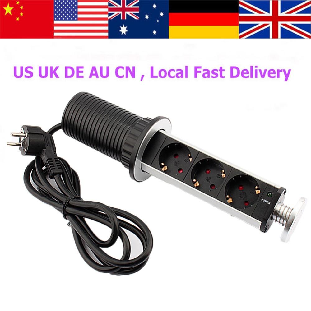 220V 3 Socket Retractable Wall Power Socket Universal Wall Outlet EU Plug  Electric Wall Charger