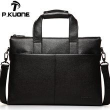 P.kuone Genuine First layer Cow Leather men's bag handbag Top Brand fashion male briefcase 14 inch Laptop bag Business bags