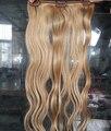 18 pulgadas 140g Indidan Honey Blonde Remy Clip Cabeza Completa en la Extensión Del Pelo Humano Clip de Color En El Cabello Humano extensión