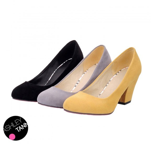 46c835a74fe Black Grey Yellow Womens Office Pumps Classic Business Ladies Suede Block  Heels Court Shoes Size 34-43 FREE S H SH15
