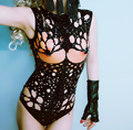 fashion sexy costume fake breast hollow bodysuit outfit stage wear lead dancer clothing bust form cutout female singer leotard