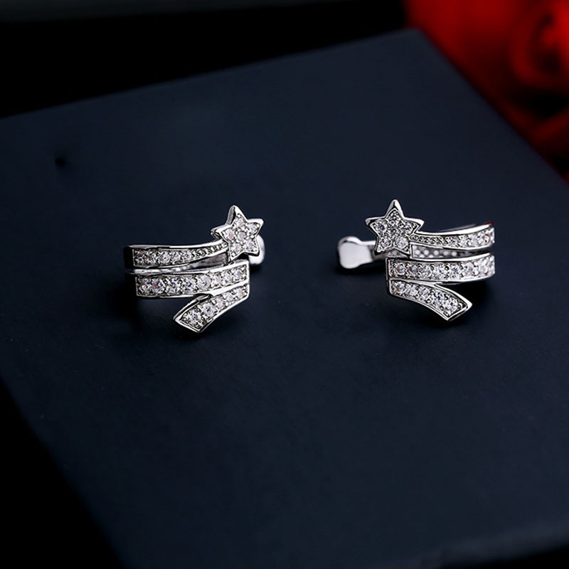 Hot Selling 1PC Star Clip Earrings For Women Fashion Charm CZ Zircon Crystal Ear Cuff Wrap Earrings jewelry Gifts Drop Shipping