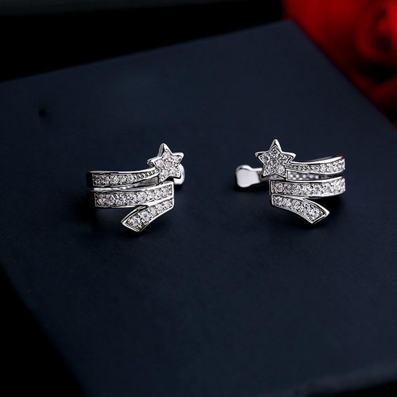 Hot Selling 1PC Star Clip Earrings For Women Fashion Charm CZ Zircon Crystal Ear Cuff Wrap Earrings jewelry Gifts Drop Shipping