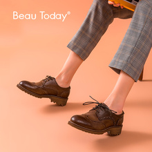 BeauToday Women Derby Shoes Genuine Cow Leather Brogue Style Wingtip Round Toe Lace-Up Top Quality Brand Flat Shoes 21609